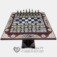 Элитный шахматный стол из дуба и агата Стратег - 4 империи