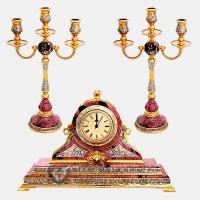Набор каминный Часы и два подсвечника